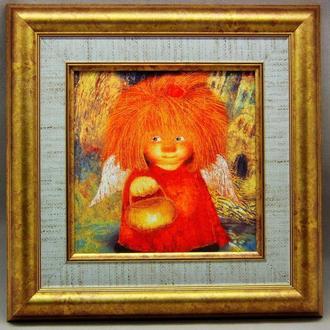 """Картина на керамике в раме """"Ангел, освещающий жизненный путь"""""""