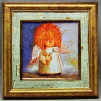 """Картина на керамике в раме """"Ангел с одуванчиком"""""""