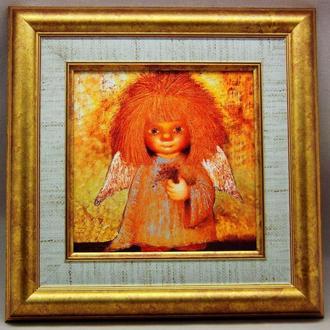 """Картина на керамике в раме """"Ангел с незабудками"""""""
