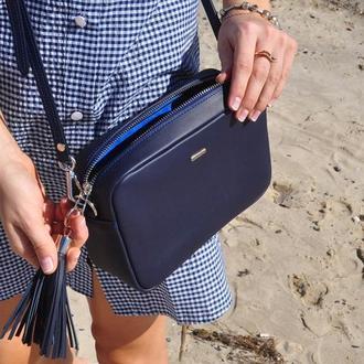 Женская кожаная сумка, женская кожаная сумка синего цвета, женская кожаная сумка под заказ, сумка