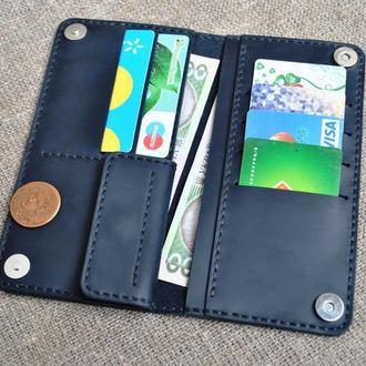 Темно-синий кошелек из винтажной кожи K39-600