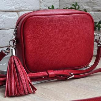 Женская кожаная сумка, женская сумка из красной кожи, кожаная сумка под заказ, женская сумка