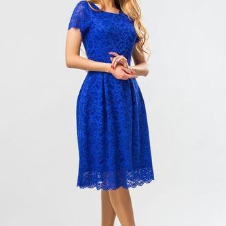 Синее Платье С Гипюром