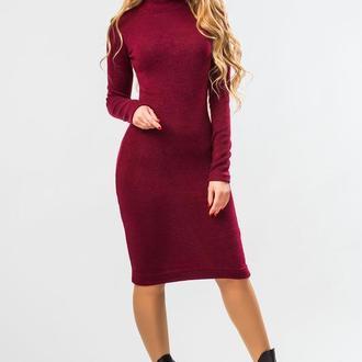 Бордовое Платье Гольф