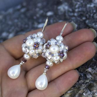 Серьги натуральный жемчуг, майолика и кристаллы