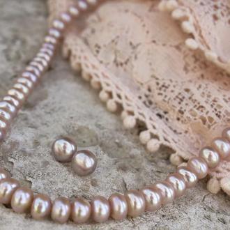 Жемчуг и серебро комплект украшений