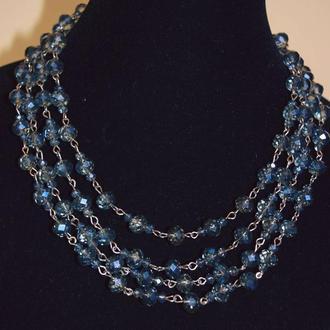 Четырёхъярусное ожерелье из хрусталя для торжественных мероприятий