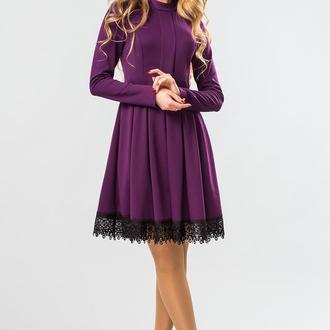 Пурпурное Платье На Стойке С Кружевом