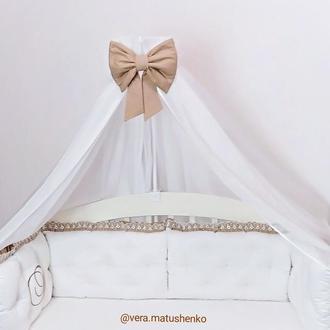 Бортики подушки (защита в кроватку) с декоративной подушкой