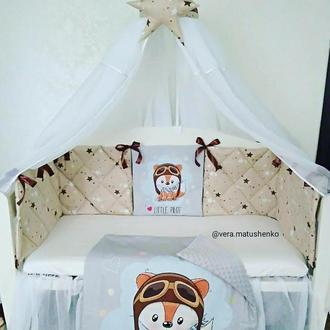 Бортики подушки стеганные (защита в кроватку)