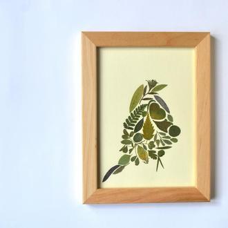 Силует птаха з пресованих рослин