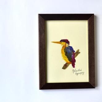 Птаха виготовлена з квітів ( ошібана)
