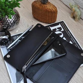 Мужской кожаный кошелек, мужское кожаное портмоне, мужской кожаный клатч, Портмоне ручной работы