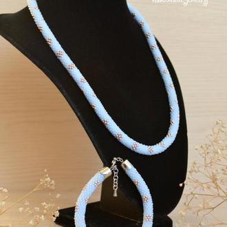 Комплект Жгут из бисера Небесная нежность и браслет