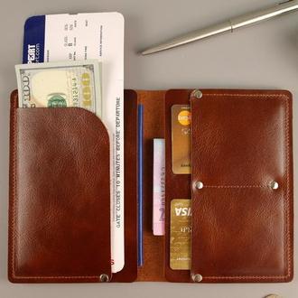 Чехол обложка тревел для паспорта документов натуральная кожа
