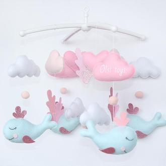 """Мобиль """"Спящие киты"""" для девочки"""
