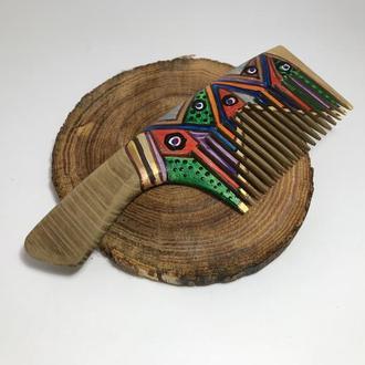 Гребень деревянный для волос расписной