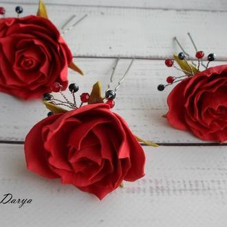 шпильки для волос Розы из фоамирана