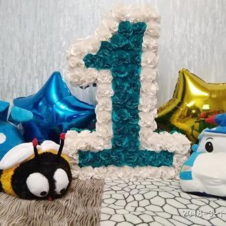 Цифра 1 один в наличии! для мальчика или девочки, оригинальная и яркая бирюза с белым!