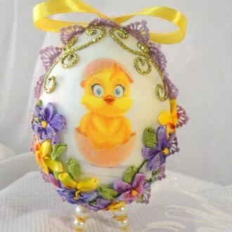 Пасхальное яйцо вышитое лентами 1