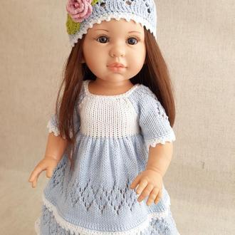 Одежда для кукол Паола Рейна. Платье голубое с белым