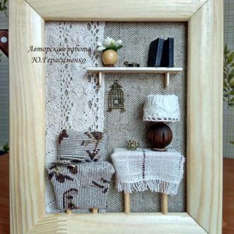 Панно-миниатюра в виде ключницы ′Гостиная′