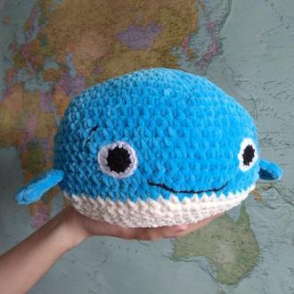 Плюшевый Синий кит, подушка, игрушка, вязаный крючком, Подарок