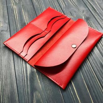 Женский кожаный кошелек Flint red