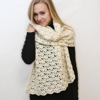 Теплый шерстяной палантин, шаль-платок