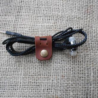 Кожаный держатель наушников коричневий