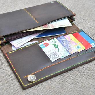 Коричневый кожаный кошелек с контрастной нитью  K41-450+multicolor