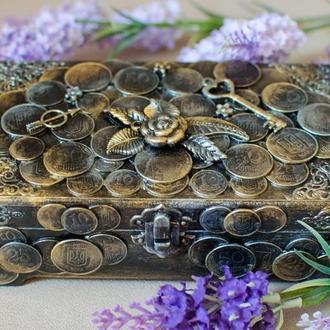 Авторская шкатулка-купюрница ′Gold coins′