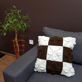 Декоративная диванная вязаная интерьерная подушка  чехол на подушку