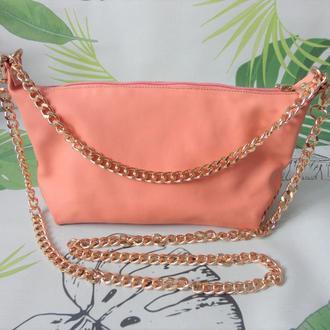 Женская кожаная сумочка цвет персик