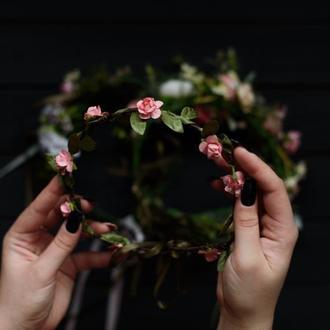Венок с розами/венок в стиле хиппи/венок бохо/венок на свадьбу/свадебный венок
