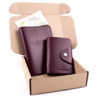 Подарочный набор №6 (бордовый): обложка на паспорт + картхолдер