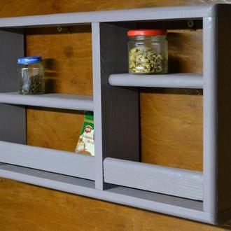Полка для специй кухонная. Деревянная спецовница настенная.