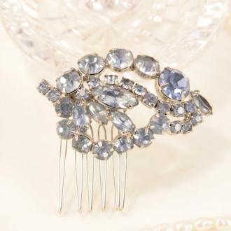 Голубой свадебный гребень для волос с кристаллами