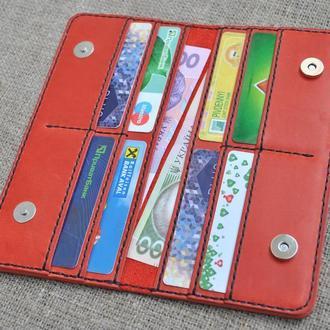 Красивый красный кошелек из натуральной кожи K55-580+black