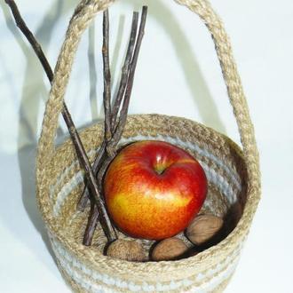 Корзинка декоративная из джута круглая с жесткими стенками Ручная работа