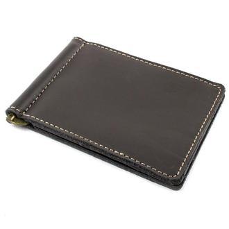 Кожаный зажим для денег Crez-4 (серо-коричневый)