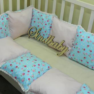 Защитные бортики из сатина для детской кроватки -03.1