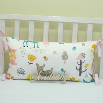 Бортики подушки в кроватку, Подушка сатин 30х60 -16