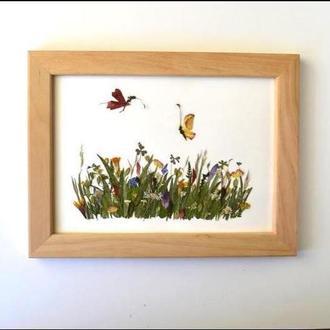 Картина з пресованих квітів «Луг»