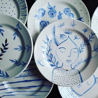 Тарелки с надглазурной росписью