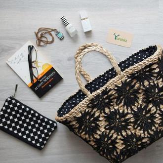 Солом'яна сумка з підкладкою сумка соломенная