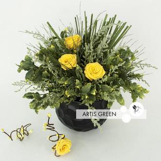 """Композиция из стабилизированных растений и цветов """"Yellow Freshness"""""""