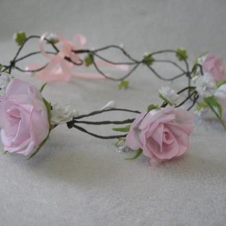 венок с цветами в стиле рустик