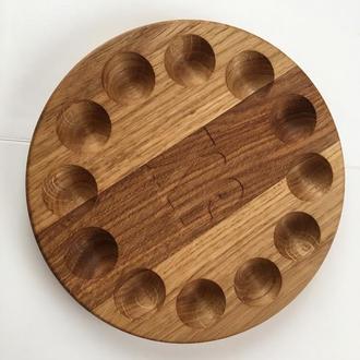 Пасхальная деревянная тарелка для крашенок и кулича (паски), пасхальный декор, сервировка на пасху