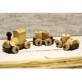 Поезд с вагонами, деревянная игрушка